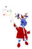 Den blåa hästen skjuter en buskis med en konfetti Arkivbilder