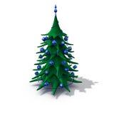 den blåa julen dekorerade treen Arkivfoto