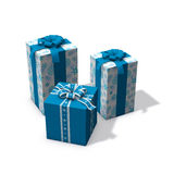 den blåa julen presenterar tre white Arkivbild