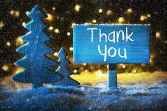 Den blåa julgranen, text tackar dig, snöflingor Royaltyfri Foto