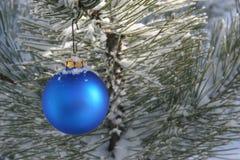 den blåa julprydnaden sörjer den snöig treen Arkivbilder