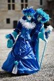 den blåa karnevalet kostymerar white Fotografering för Bildbyråer