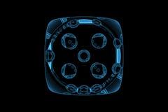 den blåa kasinotärningen framförde den genomskinliga röntgenstrålen Royaltyfri Bild