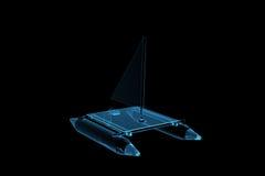 den blåa katamaranen framförde den genomskinliga röntgenstrålen Fotografering för Bildbyråer