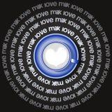 Den blåa koppen av hjärta mjölkar in Arkivbild