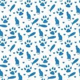 Den blåa och vita katten, tafsar tryck, fisken, och sömlösa hjärtor och r arkivfoton
