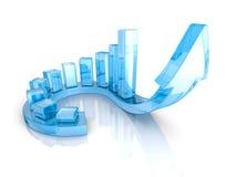 Den blåa pilen och det finansiella stångdiagrammet graph att växa upp Fotografering för Bildbyråer