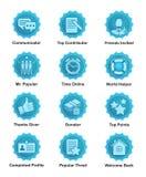 Den blåa prestationen förser med märke för rengöringsduken, apps, bloggar, fora stock illustrationer