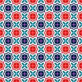 Den blåa röda och vita moroccanen belägger med tegel den sömlösa modellen, vektor Royaltyfri Bild