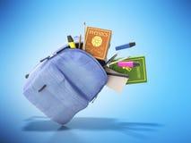 Den blåa ryggsäcken med skolatillförsel 3d framför på blått royaltyfri illustrationer