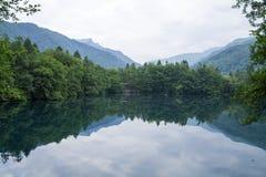 Den blåa sjön reflekterar skogen och bergen Arkivfoto