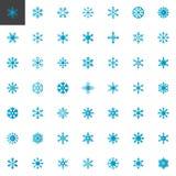 Den blåa snöflingabeståndsdelsamlingen, plana symboler ställde in vektor illustrationer