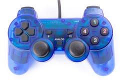 Den blåa styrspaken för kontrollantlekvideospel Royaltyfri Bild