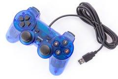 Den blåa styrspaken för kontrollantlekvideospel Arkivbilder