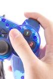 Den blåa styrspaken för kontrollantlekvideospel Royaltyfria Foton