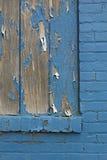 Den blåa tegelstenväggen med trä och skalning målar Royaltyfria Foton