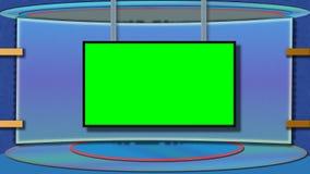 Den blåa themed TVstudion med greenscreen royaltyfria foton