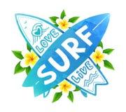 Den blåa vattenfärgen färgar vektorkorsningen surfingbrädor med handen dragen teckenförälskelse som är levande, BRÄNNING på Bali  royaltyfri illustrationer