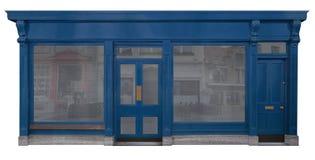Den blått målade träfasaden från försäljningar hyr rum, isolerat på vit bakgrund arkivfoto