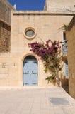 den blåa dörren blommar maltese utsmyckat för hus arkivbild