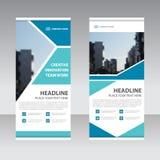 Den blåa affären rullar upp mallen för banerlägenhetdesignen, abstrakt geometrisk banervektorillustration Fotografering för Bildbyråer