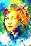 Den blåa gudinnakvinnan synar med fåglar på den flerfärgade bakgrundsögonkontakten, kvinnaframsidacollage Royaltyfri Fotografi