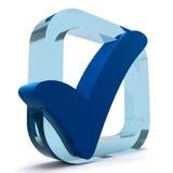 Den blåa ticken visar kvalitet och utmärkthet Royaltyfria Foton