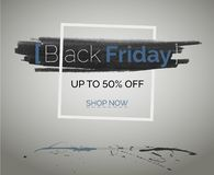 Den Black Friday försäljningen avfärdar det blåa vektorbanret för teknologirengöringsdukannonsering arkivbilder