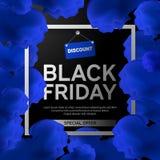 Den Black Friday Sale affischen med blått fördunklar på svart bakgrund med den fyrkantiga ramen också vektor för coreldrawillustr Fotografering för Bildbyråer