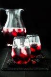 Den Blackberry drinken i exponeringsglas med den svarta sockerkanten för nedgång och halloween festar Fotografering för Bildbyråer