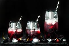 Den Blackberry drinken i exponeringsglas med den svarta sockerkanten för nedgång och halloween festar Royaltyfri Fotografi