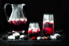 Den Blackberry drinken i exponeringsglas med den svarta sockerkanten för nedgång och halloween festar Arkivfoto
