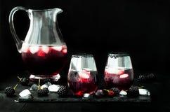 Den Blackberry drinken i exponeringsglas med den svarta sockerkanten för nedgång och halloween festar Royaltyfri Bild