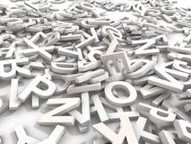 Den blandade ihop högen av 3D illustrerade vita stora bokstavsbokstäver över en vit bakgrund D arkivfoton