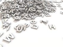 Den blandade ihop högen av 3D illustrerade vita stora bokstavsbokstäver över ett vitt bakgrundsH royaltyfri fotografi