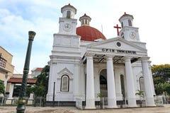 Den Blenduk Semarang kyrkan ?r en kyrka som byggdes i 1753 och ?r en av gr?nsm?rkena i den gamla staden fotografering för bildbyråer