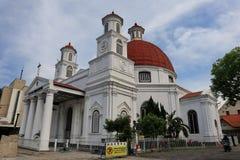 Den Blenduk Semarang kyrkan ?r en kyrka som byggdes i 1753 och ?r en av gr?nsm?rkena i den gamla staden royaltyfria bilder
