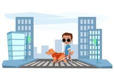 Den blinda pojken korsar vägen med en handbokhund Royaltyfri Fotografi