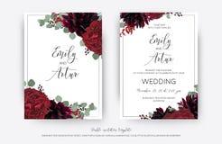 Den blom- bröllopvektorn inviterar, inbjudan sparar ändringen för datumkortet stock illustrationer