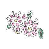 Den blom- designen, stiliserade blommor, vektorillustration, skissar, klottrar Royaltyfri Foto