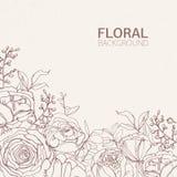 Den blom- fyrkantiga bakgrunden med ursnyggt blomma steg blommor, sidor och inflorescences som växer från handen för den nedersta vektor illustrationer