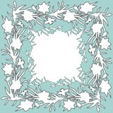 Den blom- fyrkantiga prydnadgränsen med den drog handen blommar påskliljor arkivfoton