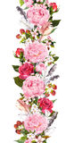 Den blom- gränsen med blommor, rosor, befjädrar Tappning upprepad remsa vattenfärg Arkivfoto