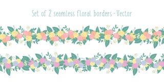 Den blom- gränsvektorn ställde in sömlöst med stiliserade blommor Rosa gula orange blått för vår- eller sommarblommagirland som ä royaltyfri illustrationer