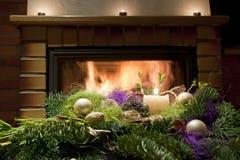 Den blom- julen bordlägger garneringen Arkivfoto