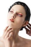Den blom- makeupen, vänds hon av tre - inkvarterar Arkivbilder
