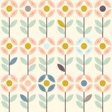 Den blom- modellen med den abstrakta scandinavianen blommar, folkprydnader Seamless bakgrund Guling grå färg, pastellfärgade rosa Royaltyfri Foto