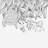 den blom- prydnaden skissar royaltyfri illustrationer