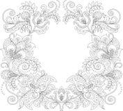 den blom- ramen inramniner serie Blom- dekorativ modell Prydnadbakgrund Vuxen antistress färgläggningsida Arkivfoto