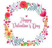 den blom- ramen inramniner serie Dragen illustration för vattenfärg hand Dekorativt skissa växter och blommor i dag för valentin  royaltyfri illustrationer